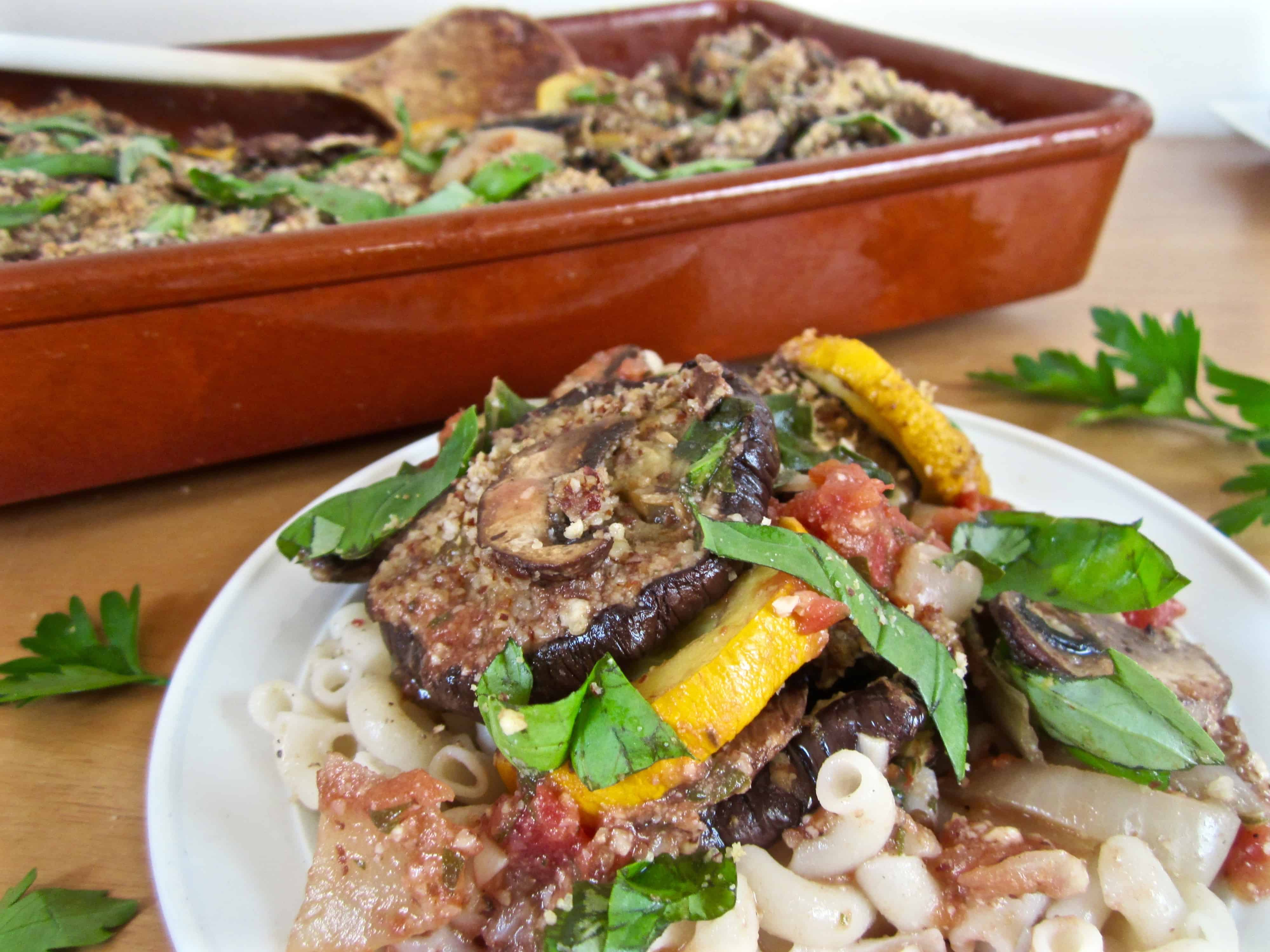Italian Roasted Veggie Bake with Parmesan & fresh basil, vegan & gluten free! | veganchickpea.com