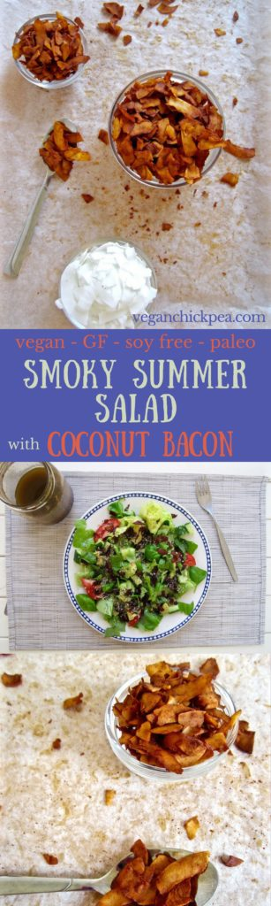 Smoky Summer Salad with Coconut Bacon Recipe - yes, vegan bacon that tastes like real bacon bits! {paleo, gluten/soy/nut free!}   veganchickpea.com