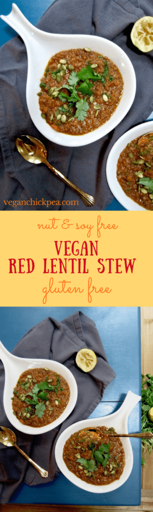 Vegan Red Lentil Stew Recipe - super healthy and 17 grams of plant powered protein per bowl! | veganchickpea.com