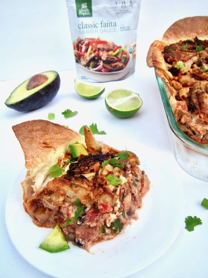 The Best Creamy Vegan Mexican Casserole (Gluten Free) recipe - hearty, healthy, family friendly and nourishing, this multi-layered casserole is comfort food at its best! [soy + sugar free]   veganchickpea.com