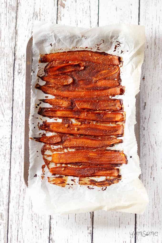 Using mushrooms, coconut, eggplant, rice paper, nuts, tofu, tempeh or carrots, Vegan Bacon is salty and sweet, with a crispy and chewy texture. This creative recipe roundup highlights bloggers who show us how it's done!