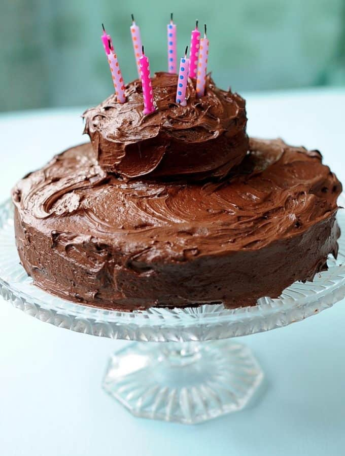 This gorgeous and decadent Gluten Free Vegan Chocolate Cake with Nutella Frosting makes the perfect birthday cake! No dairy, eggs or gluten needed to make creamy frosting and delectable, moist cake. Us gluten free vegans can have our cake and eat it too with this recipe (sugar free option included)!