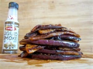 Vegan & gluten free healthy Bacon - Made of out of Eggplant & Liquid Smoke | veganchickpea.com