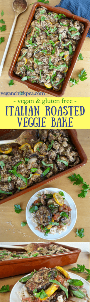 Italian Roasted Veggie Bake Recipe with Vegan Parmesan & fresh basil - vegan & gluten free deliciousness! | veganchickpea.com