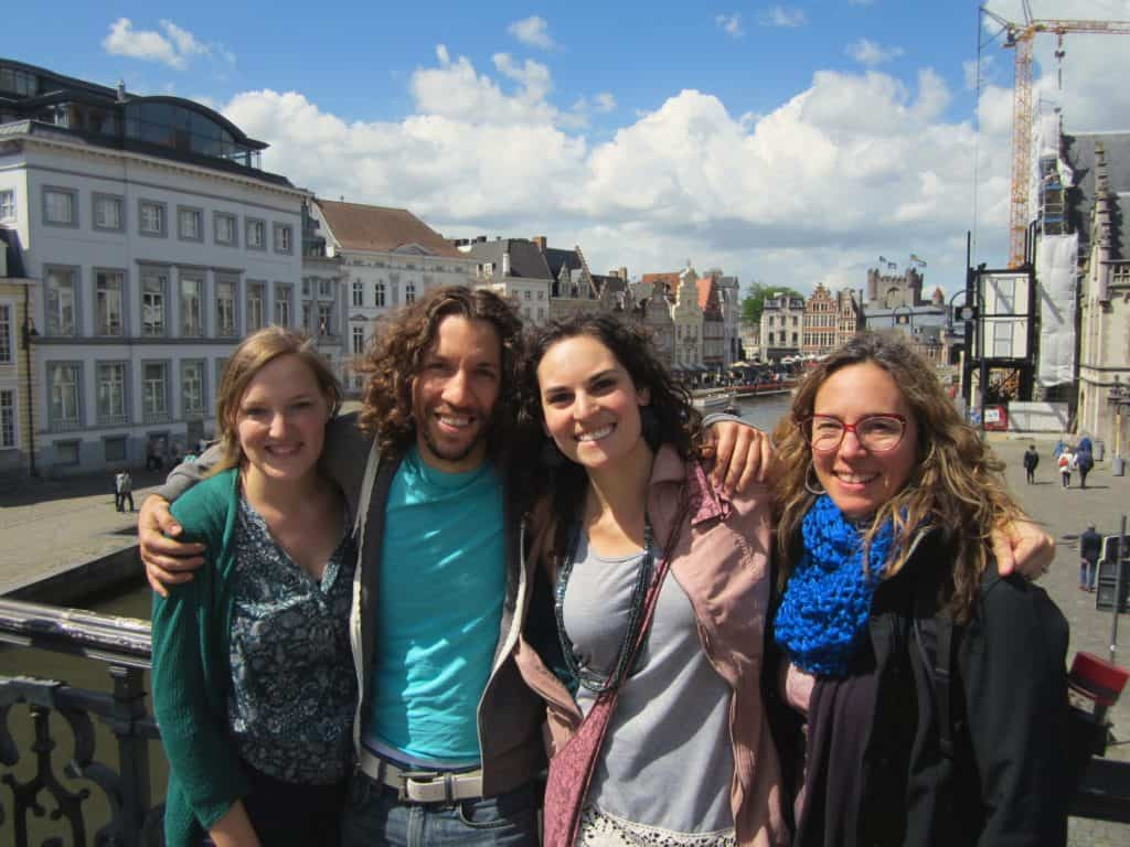 Ghent, Belgium Bridge with Friends
