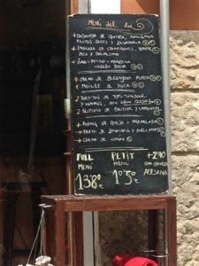 Plear Natural Menu of the Day Mallorca Spain