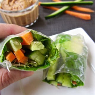 Super healthy & fresh vegan Simple Spring Rolls with Ginger Almond Sauce recipe (gluten + soy free) | veganchickpea.com