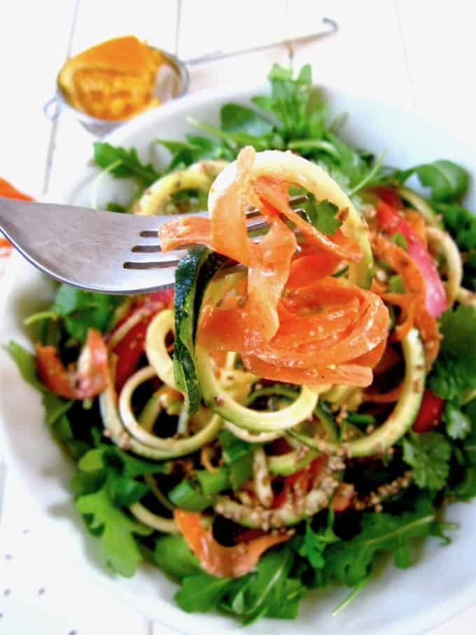 Coconut Curry Spiraled Zucchini & Carrot Noodle Salad - This colorful, bright salad is ready in 15 minutes and has a light flavor, enjoyable anytime of the year! [vegan, paleo, GF] | veganchickpea.com