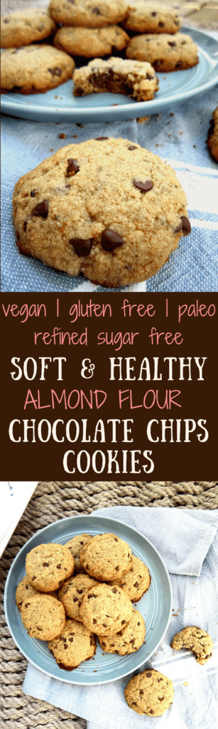Soft & Healthy Almond Flour Chocolate Chip Cookies - gluten free, paleo AND vegan - easy, simply delicious and made with healthy ingredients! {refined sugar free} | veganchickpea.com