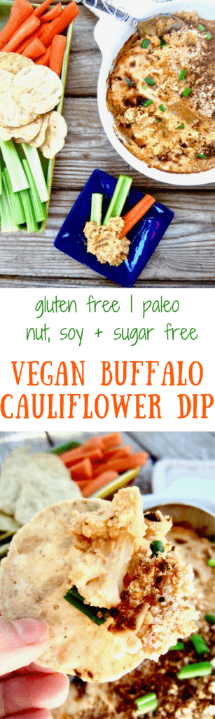 Vegan Buffalo Cauliflower Dip Recipe - A perfectly yummy and healthy substitute for traditional buffalo chicken dip! {Gluten Free, Paleo, Nut/Soy/Oil/Sugar Free} | veganchickpea.com