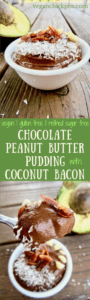 Chocolate Peanut Butter Pudding with Coconut Bacon - a delightful combo of the classic peanut butter and chocolate, PLUS a sweet and savory topping of coconut bacon! refined sugar free + vegan + gluten free | veganchickpea.com