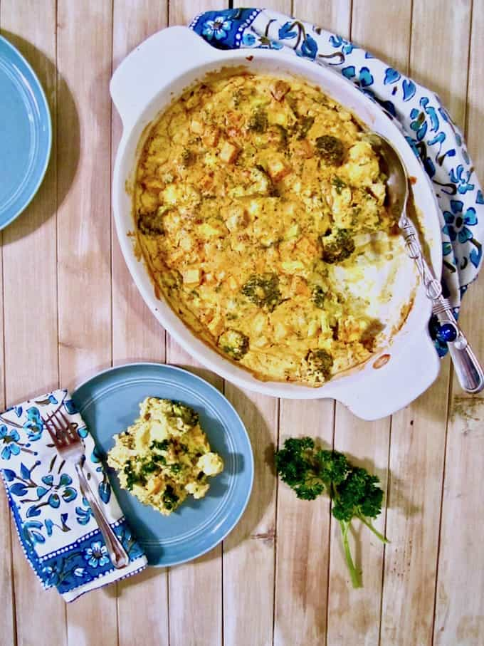 Cauliflower, Broccoli & Sweet Potato Turmeric Casserole recipe - A healthy, clean, real food recipe to nourish your entire family! Also use this recipe as a template and sub whatever veggies and seasonings you have on hand! (Vegan, gluten + oil + soy free, nut free option) | veganchickpea.com