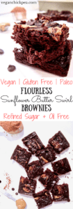 Flourless Sunflower Seed Butter Swirl Brownies recipe - these easy brownies have only 9 ingredients and take 15 minutes to prepare! A low sugar dessert that's vegan, paleo, refined sugar free, gluten free and oil free! | veganchickpea.com