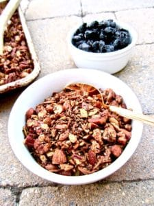 Healthy High Protein Grain Free Granola recipe - delicious sugar free homemade granola for any diet! Vegan, gluten free, paleo. | veganchickpea.com