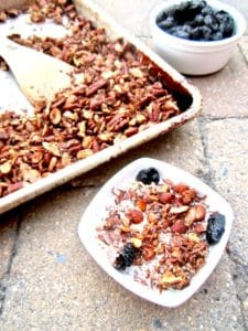 Healthy High Protein Grain Free Granola recipe - delicious sugar free homemade granola for any diet! Vegan, gluten free, paleo. | veganchickpea.com