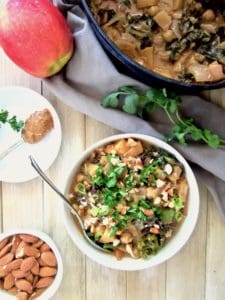 Apple, Almond, Kale & Chickpea Stew recipe - A healthy and simple recipe using only 9 ingredients! Savory and sweet with a bit of spice and protein makes this a perfectly balanced meal! Gluten free, sugar free, oil free. | veganchickpea.com