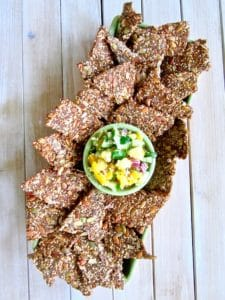 Grain-Free Multiseed Crackers with Mango Pineapple Cucumber Salsa recipe - super healthy, high protein crunchy crackers made simply out of seeds and seasonings. Paired with fresh, zesty, sweet and chunky salsa! [vegan, paleo, gluten/oil/soy/sugar/nut free] | veganchickpea.com