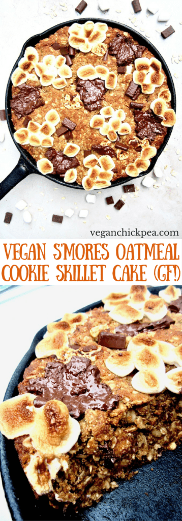 S'mores Oatmeal Cookie Skillet Cake recipe - This vegan and gluten free thick cookie cake is a hybrid between oatmeal bars and cookies, with chocolate chunks, marshmallows, oats, coconut flour and flavorful hints of cinnamon, nutmeg and ginger. A new spin on an old American classic, perfect for summer or anytime of year! | veganchickpea.com