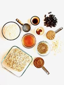 S'mores Oatmeal Cookie Skillet Cake recipe ingredients