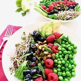 Berries, Peas & Pistachios Summer Salad + Sugar Free Mojito Vinaigrette