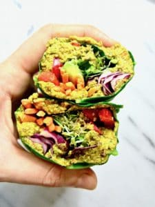 This Raw Rainbow Collard Green Wrap with Curry Sunflower Seeds recipe is a super healthy, crunchy lunch you can make ahead that will leave you feeling fresh & energized. It's customizable with whatever veggies you want, low carb and friendly for all diets! {vegan, gluten free, paleo, whole 30, sugar free, soy free}   veganchickpea.com