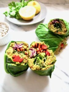 This Raw Rainbow Collard Green Wrap with Curry Sunflower Seeds recipe is a super healthy, crunchy lunch you can make ahead that will leave you feeling fresh & energized. It's customizable with whatever veggies you want, low carb and friendly for all diets! {vegan, gluten free, paleo, whole 30, sugar free, soy free} | veganchickpea.com