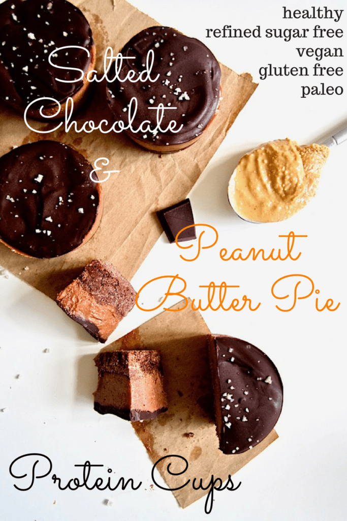These deliciously addictive yet healthy Salted Chocolate Peanut Butter Pie Protein Cups are perfectly balanced between sweet with salty - all without any refined sugars! - and pack a protein punch with about 11 grams per serving. This easy no bake recipe will be your go-to healthy dessert or snack! {Vegan, Gluten Free + Paleo}