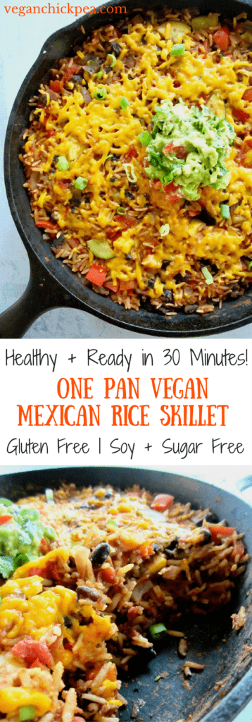 This Easy One Pan Meal: Vegan Mexican Rice Skillet (gluten free!) is a great weeknight dinner side or main meal. Simply toss rice, black beans, diced tomatoes, Simply Organic Simmer Sauce and some veggies in a skillet and let simmer. Minimal chopping required! | veganchickpea.com