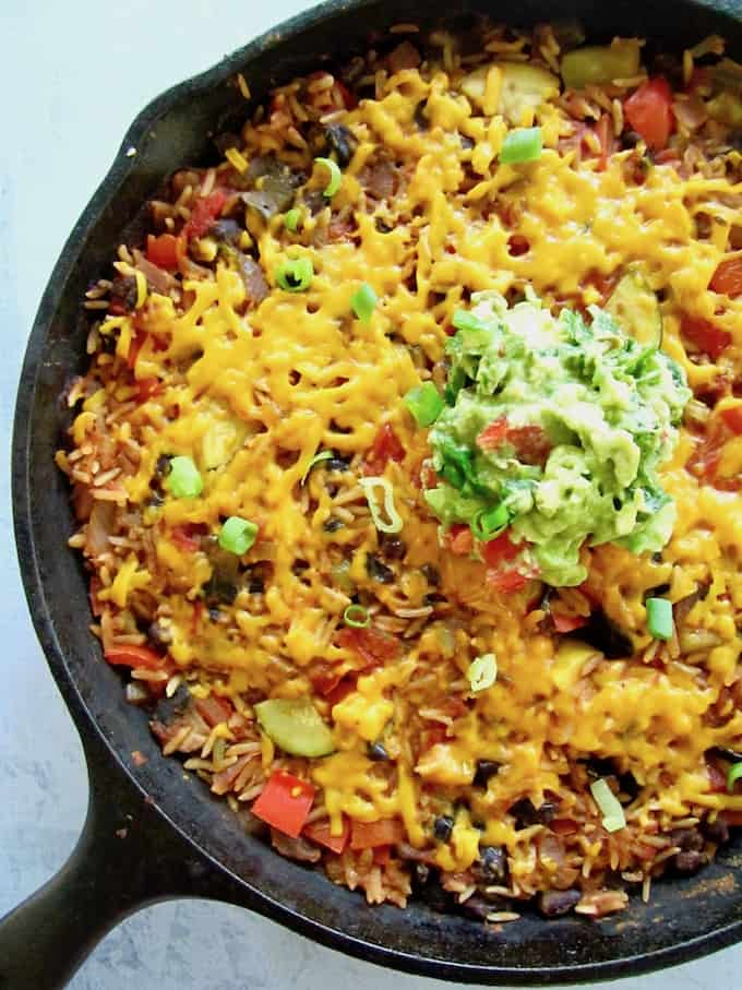 Easy one pan meal vegan mexican rice skillet simply organic sauce recipe image forumfinder Images