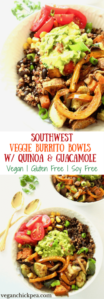 These vegan Southwest Veggie Burrito Bowls are an easy meal your whole family will enjoy! The quinoa and black bean base pack each plate with 13 grams of plant based protein. Top the bowls with homemade guacamole for super fresh flavor. Great for dinner, leftovers and as lunch the next day! | veganchickpea.com