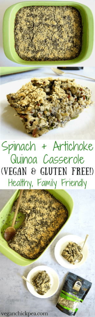 This healthy Spinach Artichoke Quinoa Casserole recipe (gluten free) unites the classic combo of Spinach & Artichoke Dip with an American family favorite meal - the hearty casserole! Using organic truRoots quinoa, this recipe makeover is filled with plant based protein and delivers a vegan dinner that the whole family will enjoy out of the oven or for leftovers the next day. | veganchickpea.com