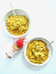 This super healthy yet satisfying and craveable 'mac & cheese' recipe mimics the flavor of the classic dish with a superbly easy, 5-ingredient vegan cheese sauce made out of sweet potatoes. Served over zucchini noodles (zoodles), this gluten free, flavor packed and veggie-filled dish is also low carb, oil-free and comes together in 30 minutes. You won't believe it's cheese-less!