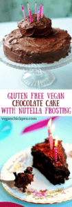 This gorgeous and decadent Gluten Free Vegan Chocolate Cake with Nutella Frosting makes the perfect birthday cake! No dairy, eggs or gluten needed to make creamy frosting and delectable, moist cake. Us gluten free vegans can have our cake and eat it too with this indulgent recipe!