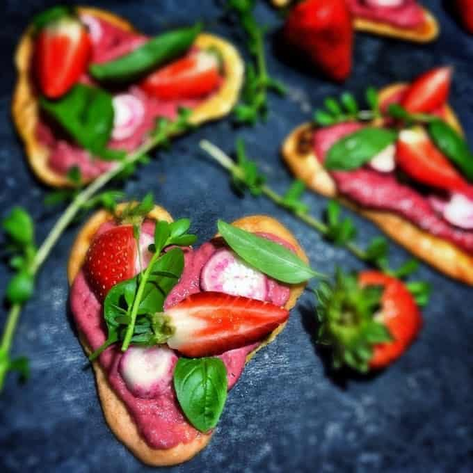 Heart Shaped Pizza & Balsamic Beet Spread