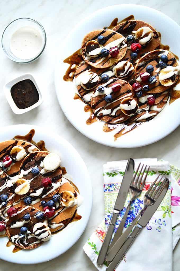 Vegan & Gluten Free Oat Pancakes with Fruit, Chocolate