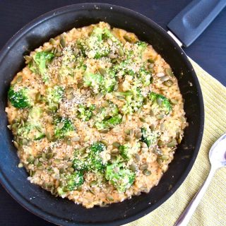 4 Ingredient, One Pan Cheesy Broccoli & Cauliflower Rice Skillet