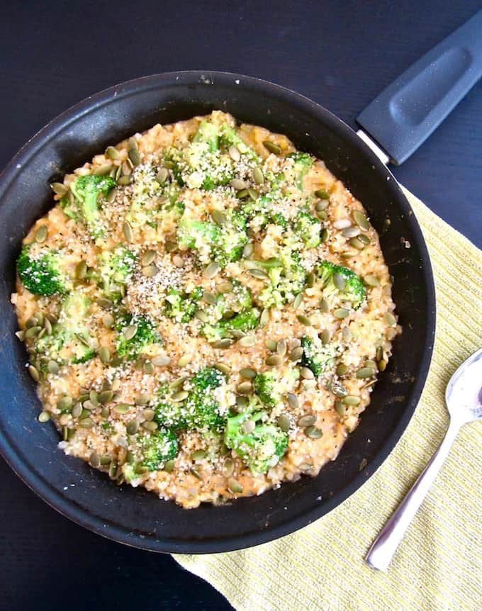 This One Pan Broccoli and Cauliflower Rice Skillet recipe is an organic, healthy and delicious meal with just FOUR ingredients that comes together in 15 minutes! A perfect plant-based and gluten free dinner or side dish for busy nights when you want a nourishing meal filled with veggies and protein, but don't have time to cook.
