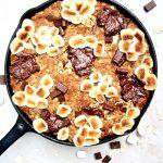 Vegan S'mores Oatmeal Cookie Skillet Cake (gluten free!)